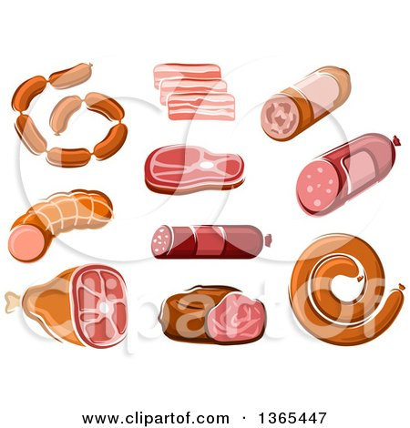 Clipart of Sausage, Salami and Ham Products - Royalty Free Vector Illustration by Vector Tradition SM