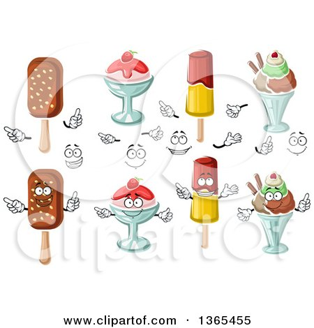 Clipart of Popsicles and Ice Cream Sundaes - Royalty Free Vector Illustration by Vector Tradition SM