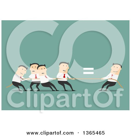 Clipart of a Flat Design Team of White Business Men Engaged in Tug of War, over Green - Royalty Free Vector Illustration by Vector Tradition SM