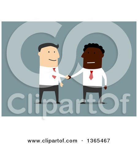 Clipart of a Flat Design Black Businessman and White Man Shaking Hands, on Blue - Royalty Free Vector Illustration by Vector Tradition SM