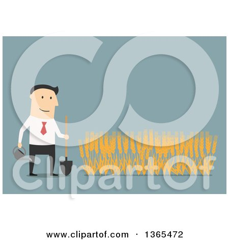 Clipart of a Flat Design White Businessman Growing a Wheat Crop, on Blue - Royalty Free Vector Illustration by Vector Tradition SM