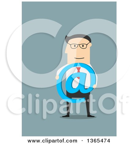 Clipart of a Flat Design White Businessman Holding an Arobase Symbol, on Blue - Royalty Free Vector Illustration by Vector Tradition SM