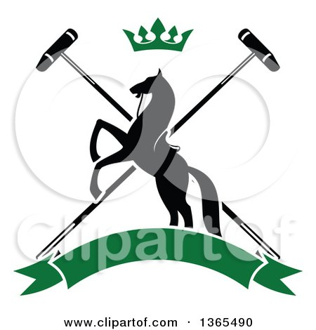 Clipart of a Black Silhouetted Rearing Horse over Crossed Polo Mallets, with a Crown and a Blank Green Banner - Royalty Free Vector Illustration by Vector Tradition SM