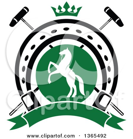 Clipart of a White Silhouetted Rearing Horse in a Horseshoe over Crossed Polo Mallets and a Crown with a Blank Banner - Royalty Free Vector Illustration by Vector Tradition SM
