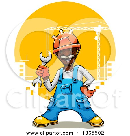 Clipart of a Cartoon Happy Black Male Construction Worker Holding a Wrench over a City - Royalty Free Vector Illustration by Vector Tradition SM
