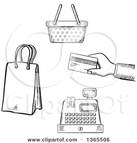 Clipart of Black and White Sketched Hand Holding a Credit Card, Cash Register, Shopping Basket and Bag - Royalty Free Vector Illustration by Vector Tradition SM