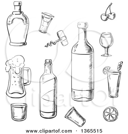 Clipart of Black and White Sketched Bottles and Alcoholic Beverages - Royalty Free Vector Illustration by Vector Tradition SM