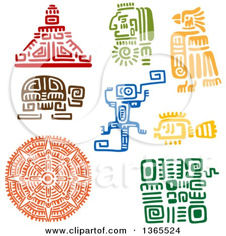 Clipart of Mayan Aztec Hieroglyph Art Designs of a Pyramid, Warrior, Bird, Turtle, Lizard, Fish, and Sun - Royalty Free Vector Illustration by Vector Tradition SM
