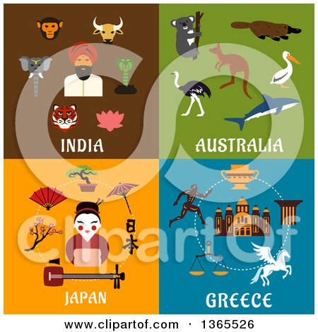 Clipart of India, Australia, Japan and Greece Designs - Royalty Free Vector Illustration by Vector Tradition SM