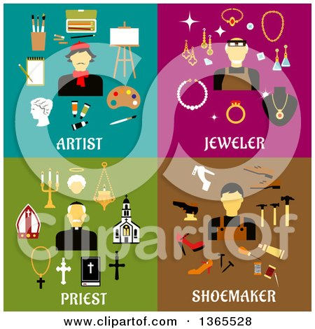 Clipart of Artist, Jeweler, Priest, and Shoemaker Designs - Royalty Free Vector Illustration by Vector Tradition SM
