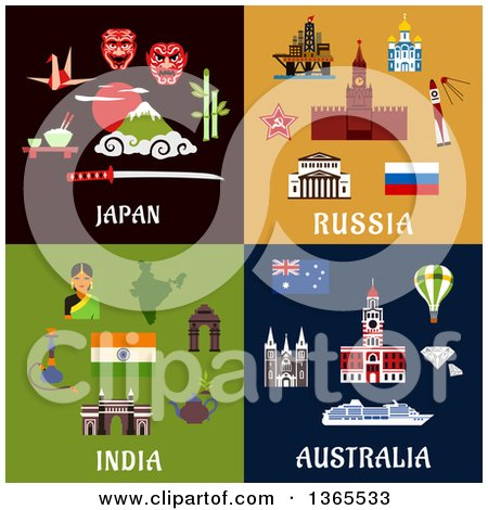 Japan, Russia, India and Australia Designs Posters, Art Prints