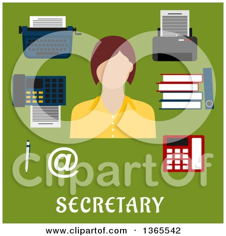 Flat Design Faceless Secretary Woman with Accessories over Text on Green Posters, Art Prints