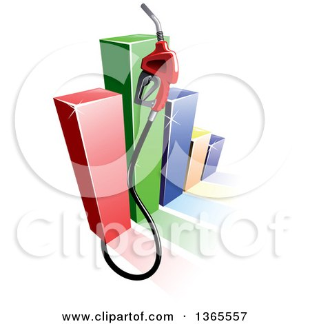 Clipart of a 3d Gas Pump Nozzle over a Colorful Bar Graph - Royalty Free Vector Illustration by Vector Tradition SM