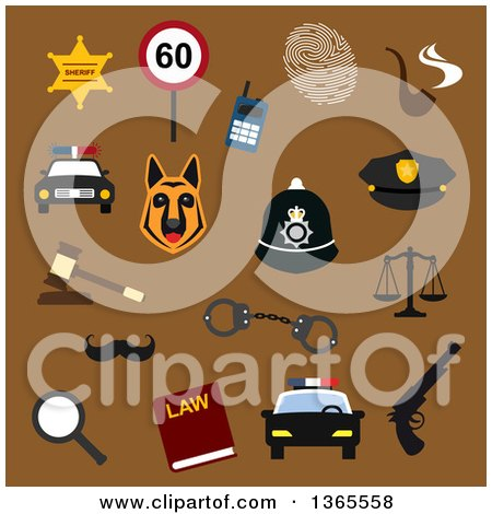 Clipart of Flat Design Sherrif and Police Items over Brown - Royalty Free Vector Illustration by Vector Tradition SM