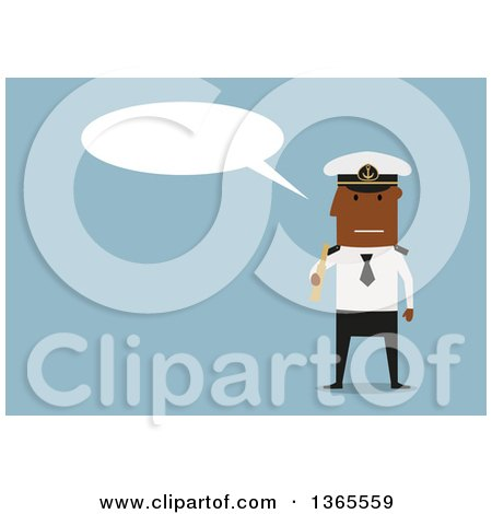 Clipart of a Flat Design Black Male Captain Holding a Telescope and Talking, on Blue - Royalty Free Vector Illustration by Vector Tradition SM