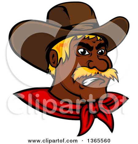Clipart of a Mad Black Male Cowboy Wearing a Red Bandana - Royalty Free Vector Illustration by Vector Tradition SM