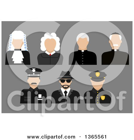 Clipart of Flat Design Faceless Judge, Priest, Police Officer, and Detective Avatars on Gray - Royalty Free Vector Illustration by Vector Tradition SM
