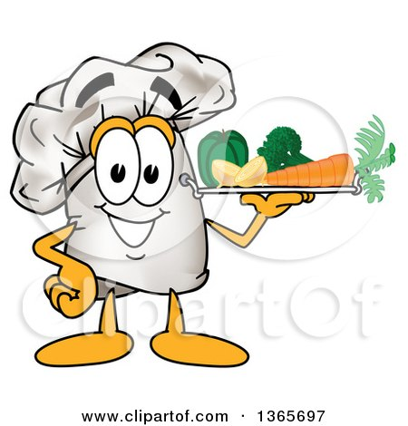 Clipart of a Toque Chefs Hat Mascot Character Serving Veggies on a Tray - Royalty Free Vector Illustration by Toons4Biz