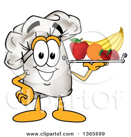 Toque Chefs Hat Mascot Character Serving Fruit on a Tray Posters, Art Prints