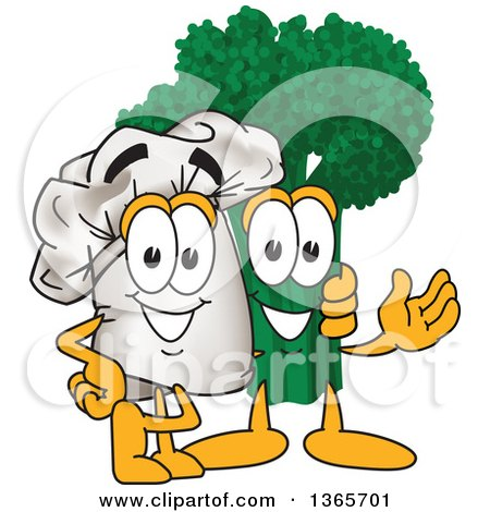 Clipart of a Toque Chefs Hat Mascot Character Posing with Broccoli - Royalty Free Vector Illustration by Toons4Biz