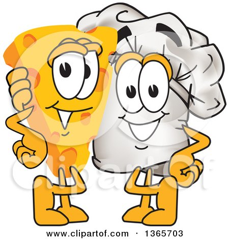Clipart of a Toque Chefs Hat Mascot Character Posing with a Cheese Wedge - Royalty Free Vector Illustration by Toons4Biz