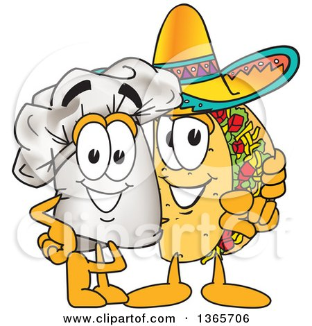 Clipart of a Toque Chefs Hat Mascot Character Posing with a Pointing Taco Character - Royalty Free Vector Illustration by Toons4Biz