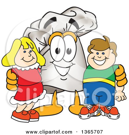 Toque Chefs Hat Mascot Character Posing with Children Posters, Art Prints