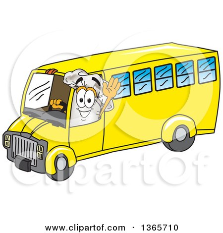 Toque Chefs Hat Mascot Character Waving and Driving a Bus Posters, Art Prints