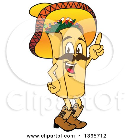 Clipart Of A Happy Burrito Character Mascot Wearing A Sombrero And Boots Holding Up A Finger Royalty Free Vector Illustration