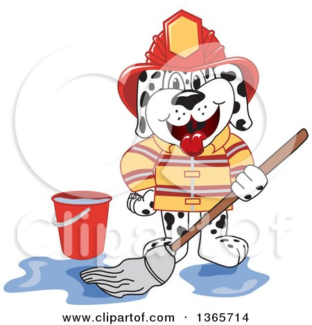 Clipart of a Dalmatian Fireman Mascot Mopping - Royalty Free Vector Illustration by Toons4Biz