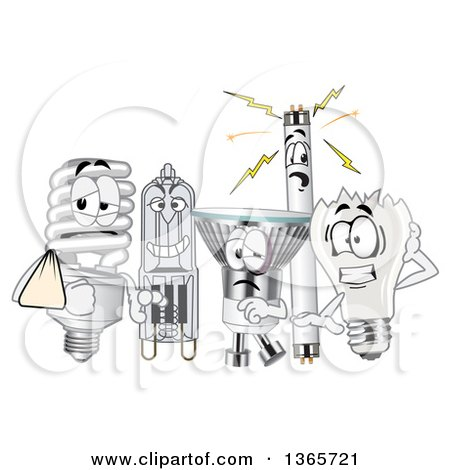 Clipart of Injured Light Bulb Mascots - Royalty Free Vector Illustration by Toons4Biz