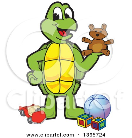 Clipart of a Happy Turtle School Mascot Character Playing with Toys - Royalty Free Vector Illustration by Toons4Biz