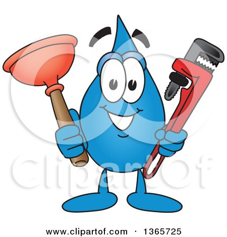 Clipart Of A Water Drop Mascot Cartoon Character Holding A Plumbing Monkey Wrench And Plunger Royalty Free Vector Illustration
