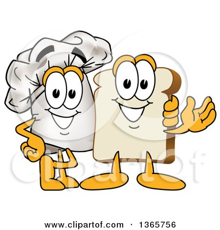 Clipart of a Toque Chefs Hat Mascot Posing with a Bread Character - Royalty Free Vector Illustration by Toons4Biz