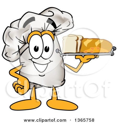 Toque Chefs Hat Mascot Character Serving Bread and Pasta on a Tray Posters, Art Prints