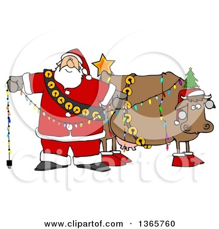 Clipart of a Cartoon Festive Christmas Santa Claus Decorating a Cow - Royalty Free Illustration by djart