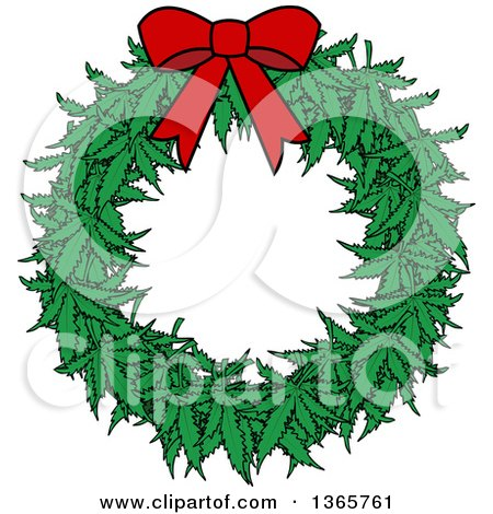 Clipart Of A Cartoon Marijuana Pot Leaf Weed Christmas Wreath With A Red Bow Royalty Free Vector Illustration