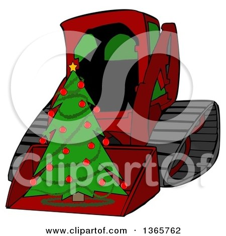Clipart of a Cartoon Red Bobcat Skid Steer Loader with a Christmas Tree in the Bucket - Royalty Free Illustration by djart