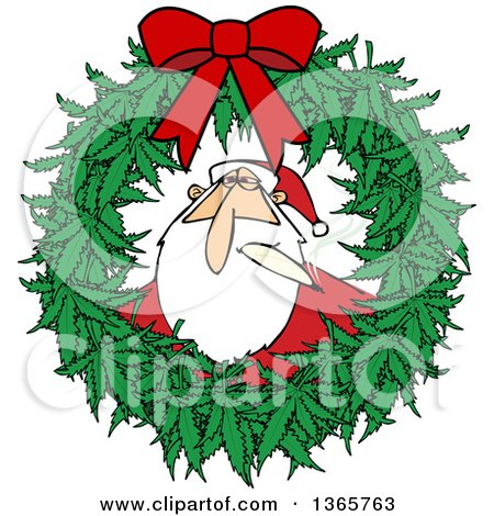 Clipart of a Cartoon Stoned Christmas Santa Claus Smoking a Joint Inside a Marijuana Pot Leaf Weed Christmas Wreath with a Red Bow - Royalty Free Vector Illustration by djart