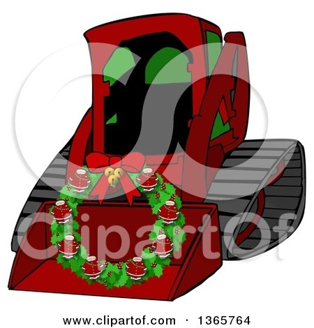 Clipart of a Cartoon Red Bobcat Skid Steer Loader with a Santa Christmas Wreath in the Bucket - Royalty Free Illustration by djart