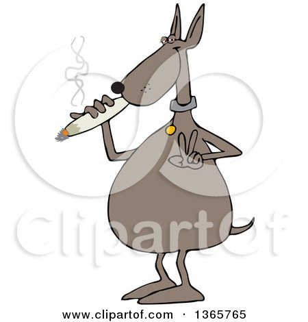 Clipart of a Cartoon Stoned Dog Gesturing Peace and Smoking a Joint - Royalty Free Vector Illustration by djart