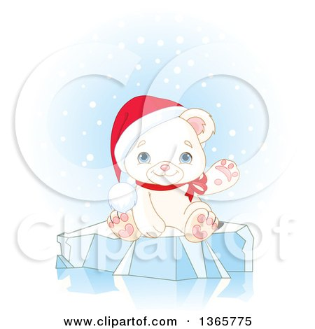 Clipart of a Cute Baby Polar Bear Cub Wearing a Christmas Santa Hat and Waving on Ice - Royalty Free Vector Illustration by Pushkin