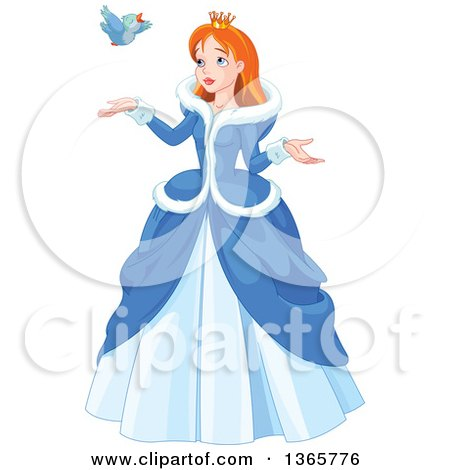 Clipart of a Red Haired, Blue Eyed Caucasian Princess in a Winter Dress, Talking to a Bird - Royalty Free Vector Illustration by Pushkin