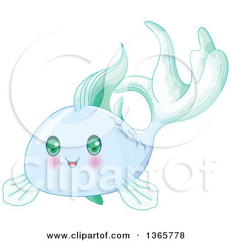 Clipart of a Cute Blue Baby Fish with Green Eyes - Royalty Free Vector Illustration by Pushkin