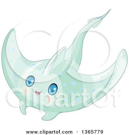 Clipart of a Cute Green Baby Stingray with Blue Eyes - Royalty Free Vector Illustration by Pushkin