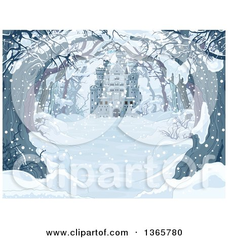 Clipart of a Tree Lined Snow Covered Road with a View of a Castle on a Winter Day - Royalty Free Vector Illustration by Pushkin