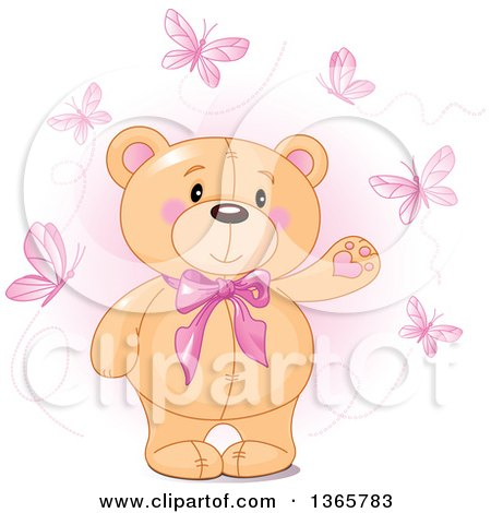 Clipart of a Cute Teddy Bear Wearing a Bowtie and Presenting, Surrounded by Butterflies over Pink - Royalty Free Vector Illustration by Pushkin