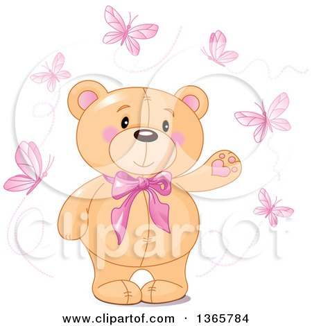 Clipart of a Cute Teddy Bear Wearing a Bowtie and Presenting, Surrounded by Pink Butterflies - Royalty Free Vector Illustration by Pushkin