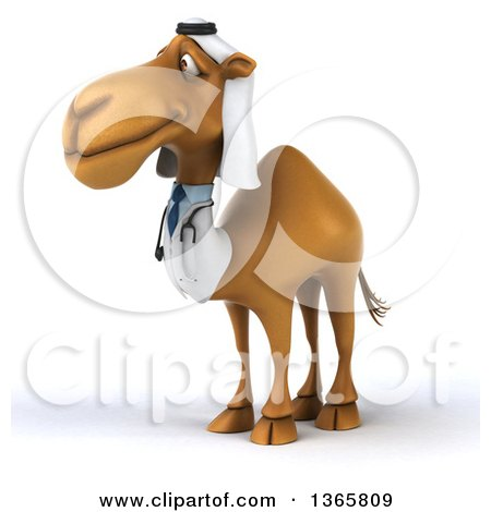 Clipart of a 3d Arabian Doctor Camel, on a White Background - Royalty Free Illustration by Julos