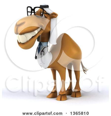 Clipart of a 3d Bespectacled Arabian Doctor Camel, on a White Background - Royalty Free Illustration by Julos